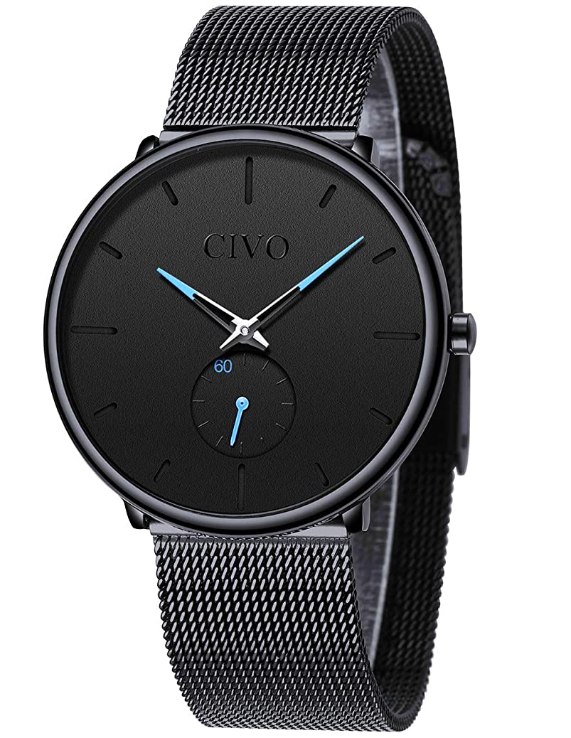 CIVO Mens Watch Stainless Steel Ultra Thin Minimalist Watches Fashion Luxury Wrist Watches for Men Business Dress Casual Waterproof Quartz Watch for Man with Sub Dial klkq9057952563