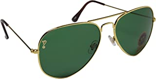 Campeon Aviator UV Protected Unisex Golden Green Sunglasses