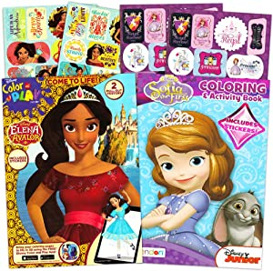 Elena of Avalor Coloring Book Super Set Bundle -- 2 Books Featuring Elena of Avalor and Sofia The First Coloring Books, Posters, and Reward Sticker (Party Supplies)
