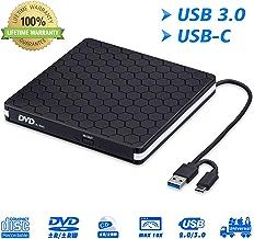External DVD Drive for Laptop, Portable High-Speed USB-C&USB 3.0 CD Burner/DVD Reader Writer for PC Desktops, Compatible with Windows/Mac OSX/Linux