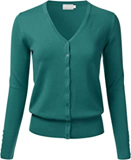 Women's Button Down V-Neck Long Sleeve Soft Knit Cardigan Sweater (S-3XL)