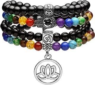 108 Mala Prayer Beads Healing Crystal Necklace 6mm Lava Rock Stone Essential Oils Diffuser Bracelet 7 Chakras Bracelets Yoga Meditation for Stress Relief
