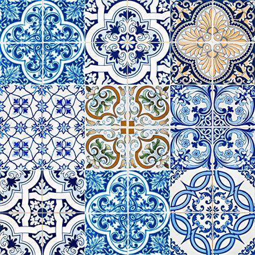 Mi Alma Backsplash - Azulejos decorativos para baño, 24 piezas, pegatinas de azulejos Talavera para pegar y pegar de fácil aplicación, ideal para baño, cocina, azulejos de pared, 4 x 4 (Blue Mexi)