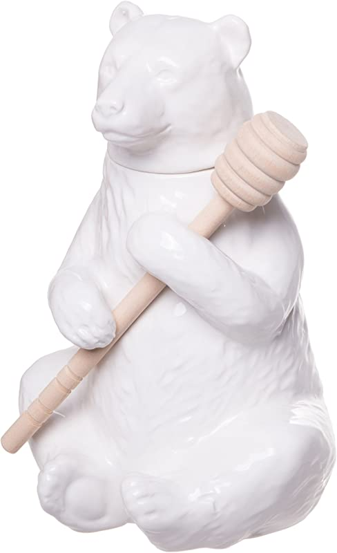 Red Co Charming Ceramic Bear Honey Pot With Bamboo Honey Dipper White 7 Inch