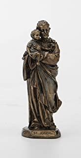 Veronese Design 3 3/8 Inch Saint Joseph Cast Resin Hand Painted Antique Bronze Finish Statue Home Decor