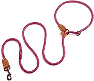 Mile High Life | Dog Rope Leash | Dog Slip Rope Lead | Dual Configuration | with Heavy Duty Metal Sturdy Clasp (Hot Pink 7...