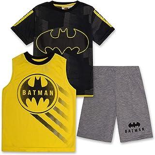 BATMAN Shirt Tank Top & Shorts 3 Piece Set Summer Active-wear Bundle Clothes for Boys