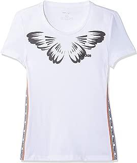 adidas Women's W FARM PRINT T-Shirt, White/Black, Medium, 12-14