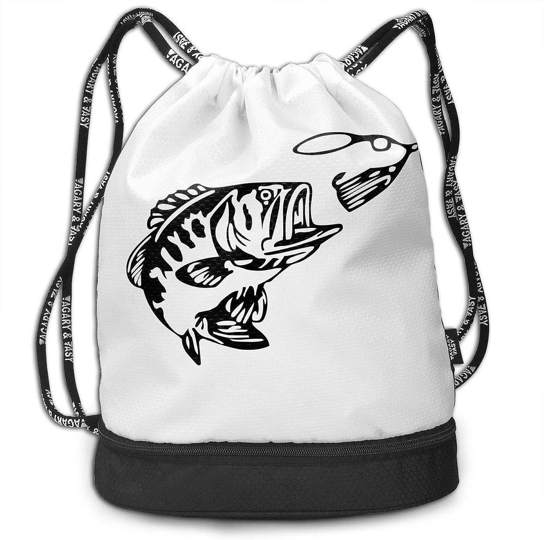 Gymsack Bass Fishing Print Drawstring Bags  Simple Bundle Pocket Backpack