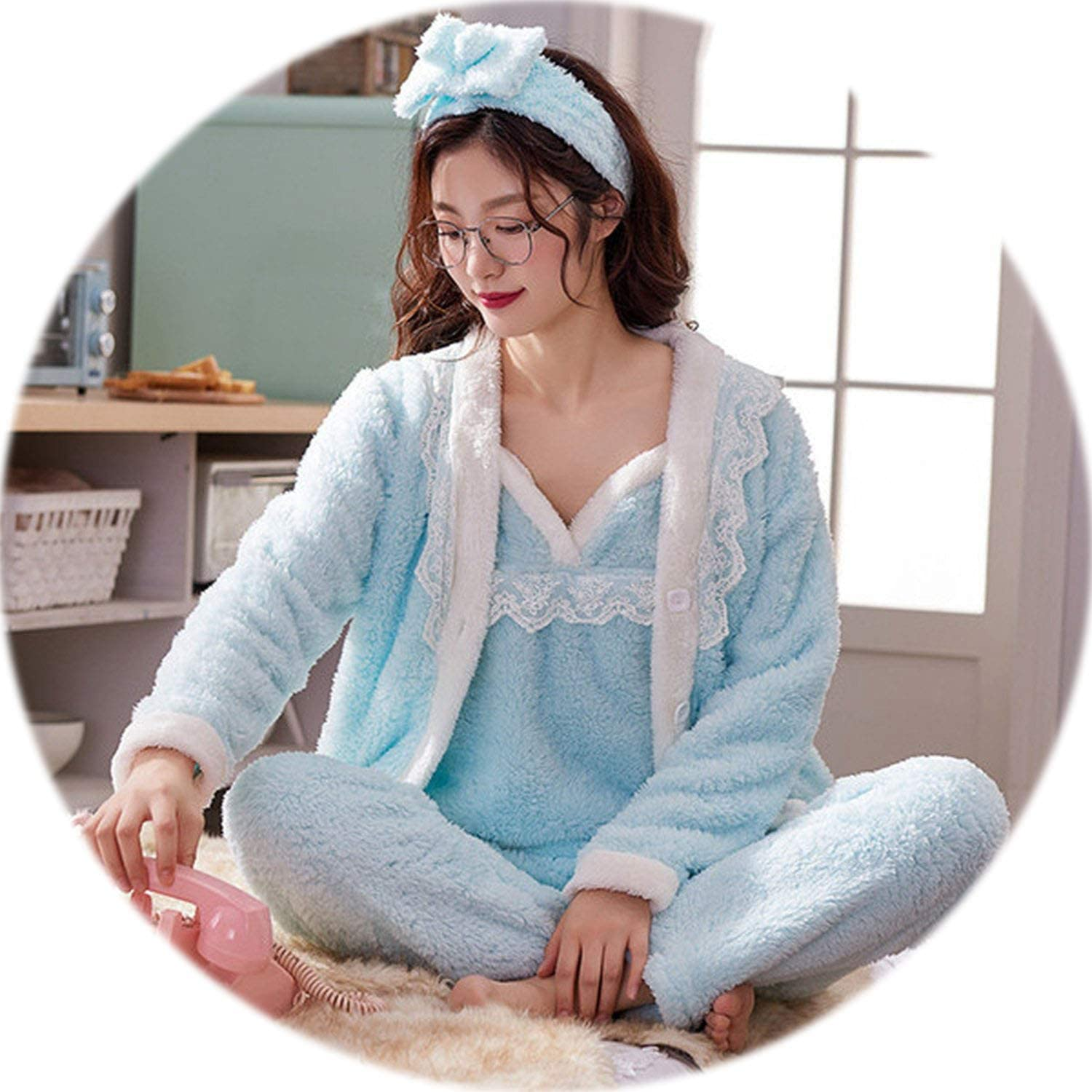 Be fearless Women Pajama Sets 4 Peices Flannel Pink Thick Warm Women Autumn Winter Pajamas Sleepwear