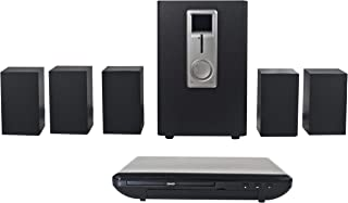 Craig CHT755 Home Theater 5.1 Channel Audio Output System with DVD Player in Black | Sub-Woofer with 5 Satellite Speakers ...