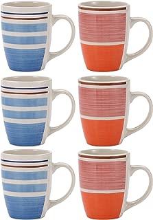 Protenrop Q2697 Set 6pcs mug 260ml gres Stripes Blue&
