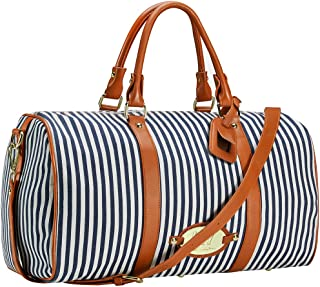Womens Overnight Weekender Travel Bag Canvas Duffle Bag Carry on Tote Luggage Underseat Bag(Blue)