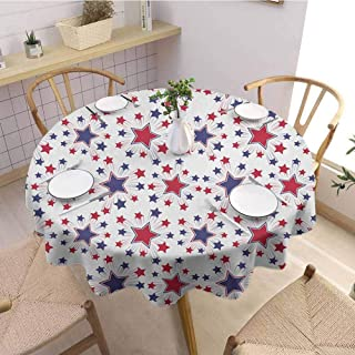 HouseLookHome USA Beach Tablecloth Celebration Shooting Star Figures International Freedom Festival Art Print Tablecloths for Parties 47 Inch Round Night Blue Ruby White