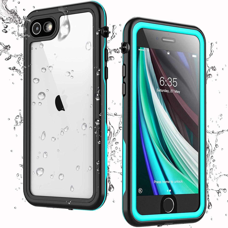 Singdo iPhone SE 2020 Waterproof Case,iPhone 7/8 Waterproof Case, Built-in Screen Protector Full Body Heavy Duty Shockproof IP68 Waterproof Case for iPhone SE 2020/7/8 4.7 inch (Teal)