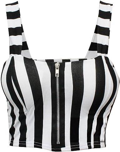 Islander Fashions Womens Cremallera Frontal Acolchada Boob Tube Bra Top Ladies Fancy Bralet Strap Crop Top pequea//Grande