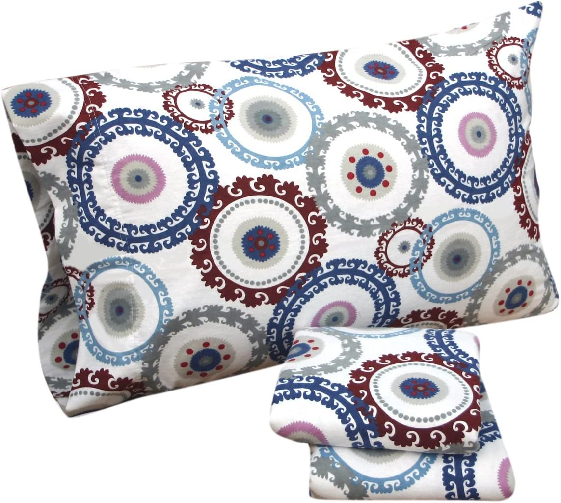 Amazon Com Tribeca Living Medallion Printed Deep Pocket Flannel Sheet Set Twin Home Kitchen
