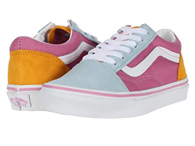 Vans Kids Old Skool (Little Kid) ((Color Block) Fuchsia Pink/True White) Girls Shoes