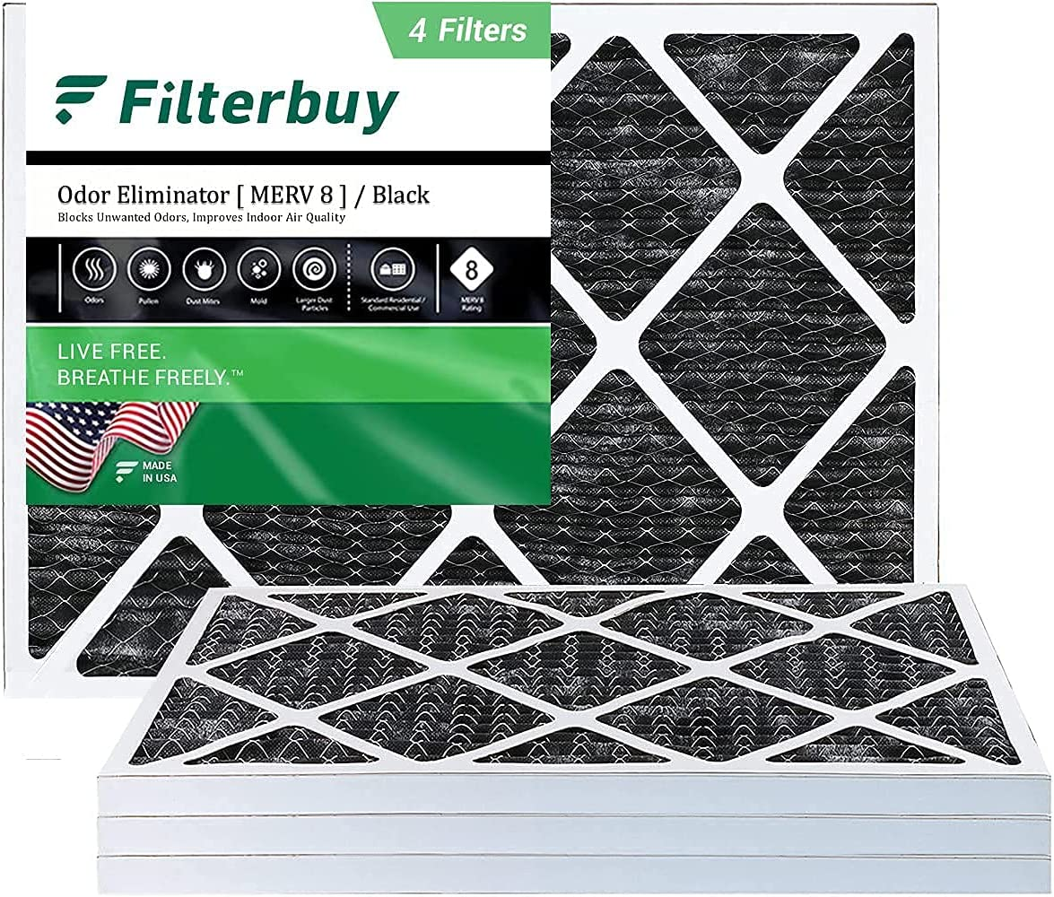 FilterBuy 20x21.5x1 Air Filter MERV 8 (Allergen Odor Eliminator), Pleated HVAC AC Furnace Filters with Activated Carbon (4-Pack, Black)