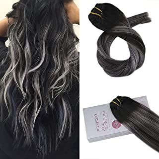 Moresoo 16 inch Clip in Human Hair Extensions Balayage Black Hair Extensions 1B to Silver Grey Clip in Real Hair Double Weft 120g/pack Full Head Set Black to Grey Silver Balayage Clip ins