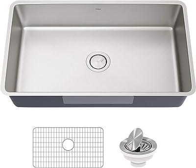 Kraus KA1US32B Dex 32-inch Undermount 16 Gauge Antibacterial Stainless Steel Single Bowl Kitchen Sink