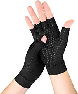 Copper Arthritis Gloves for Women/Men,  Compression Gloves for Arthritis & Carpal Tunnel Pain & Muscle Tension Relief,  Fingerless Gloves for Computer Typing and Daily Work