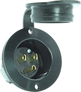 Journeyman-Pro 5278 15 Amp 125 Volt, Flanged Inlet, Black Commercial Grade, 2 Pole-3 Wire, Straight Blade, Nema 5-15 (With Cover/Cap)