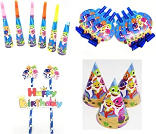Astra Gourmet Baby Cute Shark Party Supplies Set - 37 Pcs Baby Shark Themed Party Favors Includes Blowing Dragon, Paper Hat, Trumpet and Cake Topper - Fun Party Toys