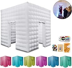 Happybuy Inflatable Photo Booth 2 Doors Inflatable Photo Booth Enclosure 8.2 x 8.2ft Portable Inflatable LED Photobooth with Inner Air Blower Great for Parties Weddings Anniversary Birthdays Parties