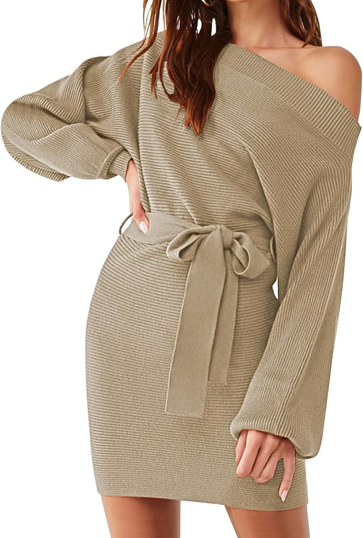 Linsery Women's Elegant One Shoulder Long Sleeve Bodycon Mini Knit Sweater Dress