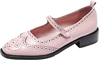 Women's Perforated Wingtip Brogues Vintage Snaps Closure Leather Flat Mary Jane Flats Shoes