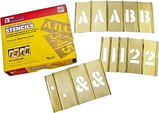 C.H. Hanson 10156 Brass Interlocking Stencil Letter & Number Set, 92 pieces, 6 inch
