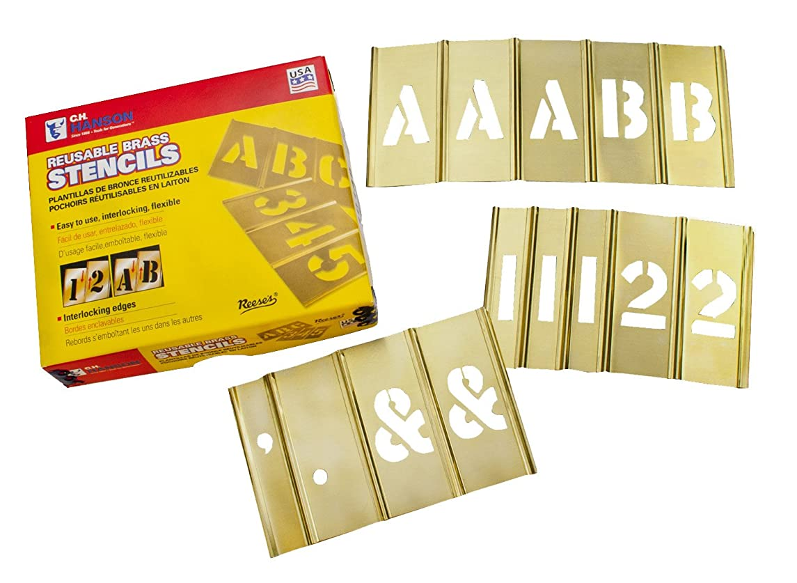 CH Hanson 10153 Brass Number 15 Piece Interlocking Stencil Set, 3