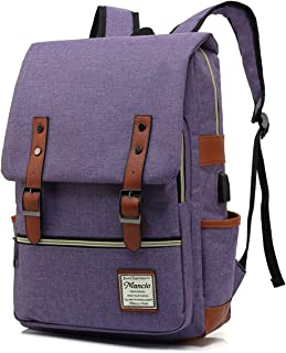 MANCIO Slim Vintage Laptop Backpack For women,Men For Travel,College,School Dayparks, Fits up to 15.6Inch Macbook