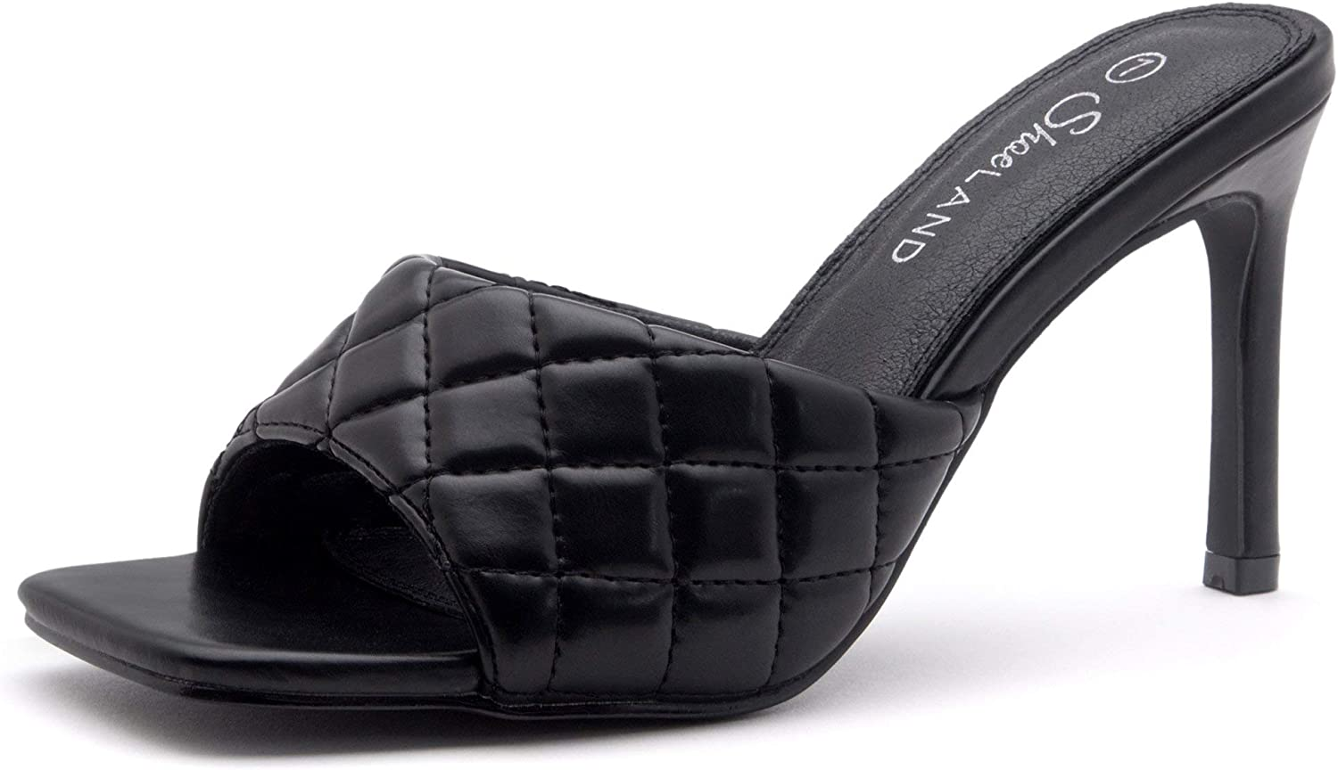 Shoe Land MELROSE Women's Square Open Toe High Heel Sandals Quilted Single Band Slip on Mules