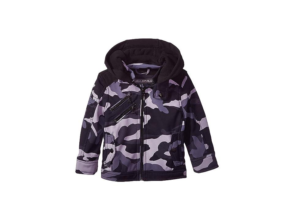 Urban Republic Kids Mick Softshell Moto Jacket w/ Fleece Hood (Toddler) (Black) Boy