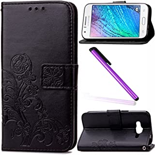 Samsung Galaxy J1 ACE Case EMAXELER Stylish Wallet Case Kickstand Embossed Credit Cards Slot Cash Pockets PU Leather Flip Wallet Case with Stand For Samsung Galaxy J1 ACE Clover Black