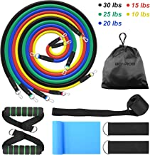 BONROB Resistance Bands Set (13pcs), Exercise Resistance Bands with Handle, Door Anchor, Foot Ankle Straps, Exercise Guide Book & Waterproof Carry Bag, for Home & Gym Training