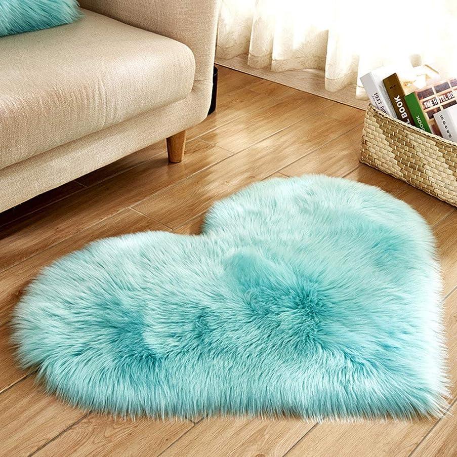 クレデンシャル故障逮捕毛布ぬいぐるみ敷物模造ウール家の装飾柔らかい寝室のリビングルームふわふわマット非スリップハート(水色)