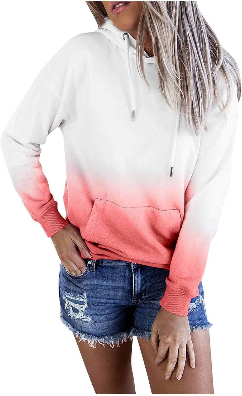 Women Plus Size Hooded Tops Tie-Dye Printed Sweater Gradient Pullover Long Sleeve Sweatshirt Top