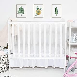 TILLYOU Mini Crib Skirt Ruffled, Microfiber Portable Crib Bed Skirt for Baby Boys and Girls, 24'' X 38'', 10.5'' Drop White