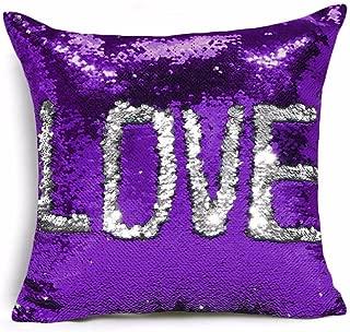 Ainik Mermaid Pillow Case Mermaid Pillow Cover Sequin Throw Pillow Case Decorative Color Change Cushion Cover Sofa Bedroom Car Kids 16 x 16 inches (Purple/Silver)