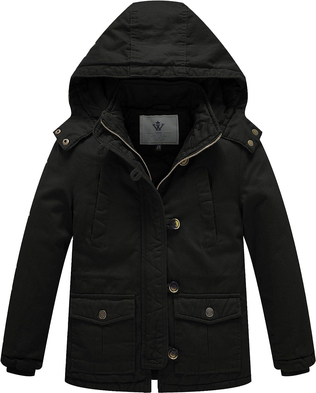 WenVen Boy's Winter Warm Puffer Jacket Heavyweight Thicken Cotton Coat with Hood