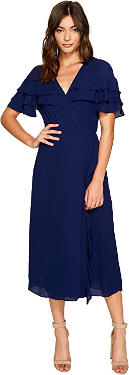 1.STATE - Wrap Front Tiered Ruffle Maxi