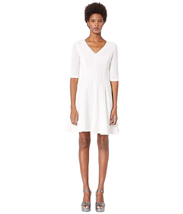Boutique Moschino Quarter Sleeve Fit and Flare Dress (White) Women