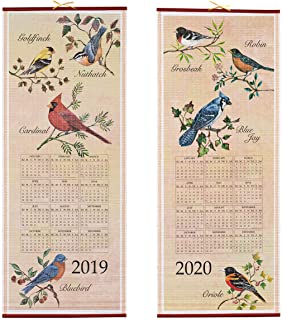 Dual-Sided 2 Year Scroll Calendar, Songbirds Design – Ideal for Small Spaces - Bamboo-Like Paper, 12 ½ in. by 33 in.