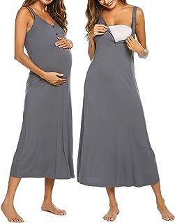 Ekouaer Maternity Nursing Nightgown Womens Sleeveless V-Neck Breastfeeding Sleep Dress Long Gown for Pregnant