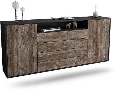 180x77x35cm Korpus Weiss matt Dekati Sideboard Cedar Rapids h/ängend Push-to-Open Front Beton Optik