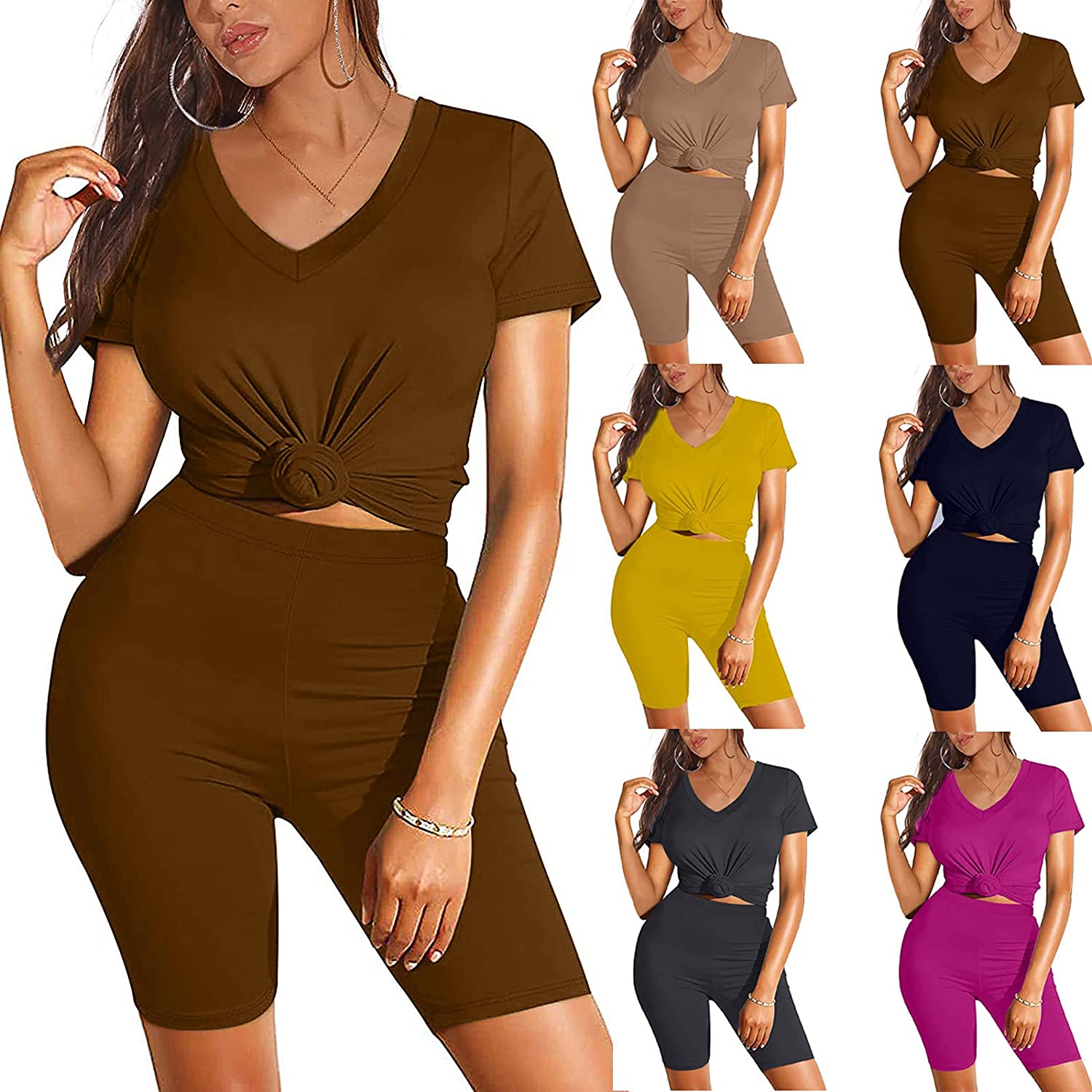 Two Piece Outfits for Women Short Sleeve V Neck Biker Shorts Set Gradual Yoga Outfit Top And Pants Set