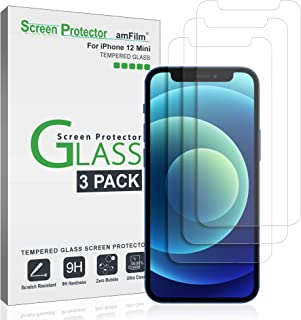 """amFilm Glass Screen Protector Compatible with iPhone 12 Mini (5.4"""" Display, 2020), Tempered Glass with Easy Installation T..."""
